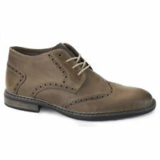 Rieker B1142 Mens Fleece Lined Lace Up Office Casual Leather Brogue Shoes Brown