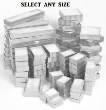 LOT of 20~50~100 Pcs SILVER COTTON FILLED BOXES w/CLEAR TOP JEWELRY GIFT BOX