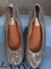LANVIN Crackle Metallic Leather Ballerina Ballet Flats Shoes Aged Silver $595