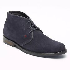 Lucini OSBORNE Mens Suede Leather Casual Comfy Lace Up Chukka Boots Dark Blue