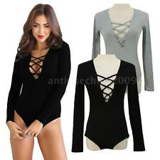 Sexy Womens V Neck Long Sleeve Jumpsuit Bodysuit Top Bandage Bodycon Romper 67FN