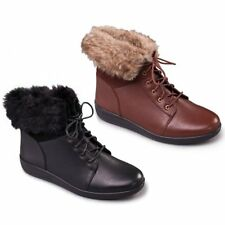 Padders GINA Ladies Womens Leather Wide (E) Fit Faux Fur Trim Warm Winter Boots