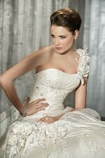 One Shoulder White/ivory Wedding Dresses Gown Bride stock size 6-8-10-12-14-16