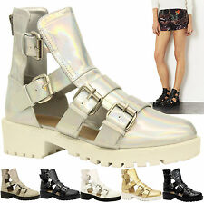 Ladies Womens Mid Heel Buckles Strappy Cut Out Gladiator Ankle Boots Shoes Size