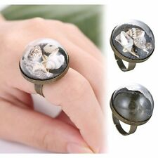 Retro Handmade Bronze Round Glass Sea Conch Dandelion Inside Adjustable Ring NEW