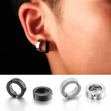 1 Pair Men's Punk Cool Metal Non-Piercing Hoop Earrings Clip On Ear Stud Cuff