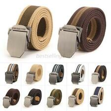 Stylish Men's Buckle Waistband Handmade Military Canvas Casual Leather Belt B77
