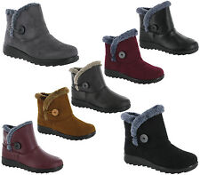 Womens Ankle Fleecy Plush Warm Lined Winter Grip Casual Pull On Boots UK 3-8