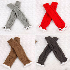 Women Knit Gloves w/ Lace Wrist Arm Warmer Long Fingerless Hand Mitten Gloves