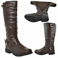 New Womens Riding Knee High Boots Casual Western Double Adjustable Buckles Brown