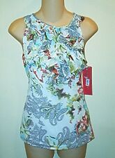 Sunny Leigh NWT $59 Paisley Print  Ruffle Front  Tank Top  Blouse