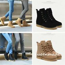 Womens Winter Snow Fur Lined Lace Up Flat High Ankle Boots Round Toe Shoes Q