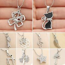 Hot Women Silver Tone Crystal Animal Cat Butterfly Heart Flower Necklace Pendant