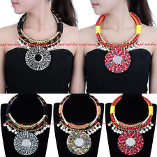 Fashion Rope Chain White Crystal Resin Pearl Statement Pendant Bib Necklace New