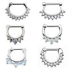 1pc/2pc Septum Clicker Clip On 316L Steel CZ Nose Ear Nipple Captive Ring Hoop
