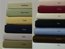 Twin 300 Thread Count Solid Bed Sheet Set 100% Cotton Ultra Smooth Feel