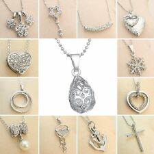 Women Round Family Heart Love Silver Crystal Rhinestone Locket Necklace Pendant