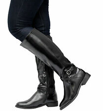 Ladies Women Leather Calf Knee High Low Mid Heel Gusset Buckle Riding Boots Size