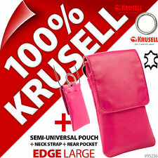 New Krusell Edge L Large Genuine Leather Mobile Pouch Slim Case Cover+Clip Pink