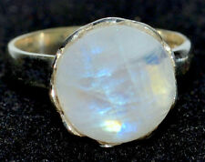 Mystic Moonstone Natural Gemstone Rings 925 Sterling Silver Ring All Sizes L - U