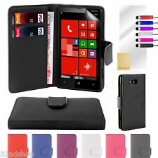 WALLET PU LEATHER CASE COVER FOR Nokia Lumia 820 FREE SCREEN PROTECTOR