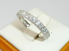 Art Deco Design Ladies 925 Silver Brilliant Cut White Sapphire Eternity Ring