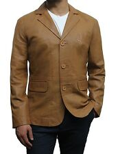 Blazer Jacket Mens Smart Stylish Real Leather Vintage Black And Tan Designers