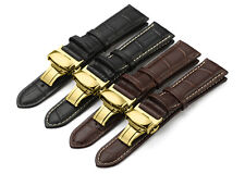 Leather Strap Alligator Grain Watch Band Butterfly Gold Tone Deployant Clasp Men