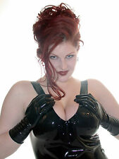 HEAVY WEIGHT BLACK Latex Rubber WRIST/SHORT Gloves / Unisex / 108a-hw