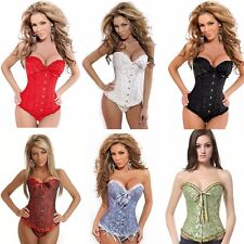 Size S-6XL Sexy Lace up Boned Overbust Corset Bustier Top Waist Cincher Shaper