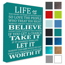 Motivational Quote Life Is Too Short Wall Art Picture Teal Wall Canvas Print