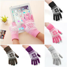 Magic Smartphone Touch Screen Gloves Warm Stretch One Size Winter Snowflake Knit