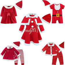 Toddler Baby Boy Girls Christmas Santa Claus Dress Romper Top Pants Hat Outfit
