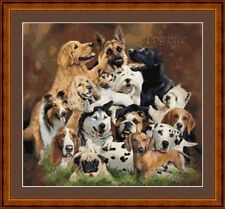 DOGPILE - PDF/PRINTED X STITCH CHART 14/18 COUNT ARTWORK © STEVEN GARDNER