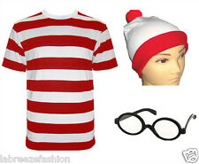 NEW MENS BOYS UNISEX PARTY RED & WHITE STRIPED T SHIRT HAT GLASSES NERD STAG