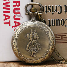 Xmas Gift Quartz Woman Alice In Wonderland Rabbit Cat Women Vintage Pocket Watch