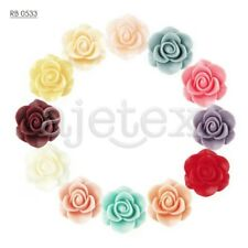 Hot Resin Lucite Vintage Style Rose Flower Cabochon Cameo 21x21x9.5mm