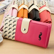 New Women Lady PU Leather Long Purse Clutch Cute Button Wallet Bag Card Holder