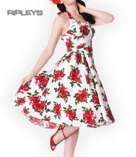 HELL BUNNY 50s DRESS Flowers CANNES White Rockabilly Pin Up Floral All Sizes