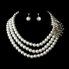 Necklace Earring Set #5508 White or hematite Pearl