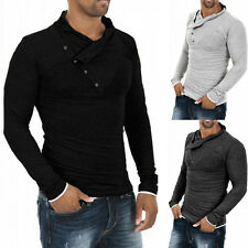 Fashion Oblique Buttons Mens Stylish Casual Dress Slim Fit Long Sleeve Shirts