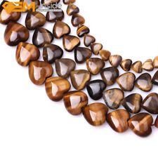 "Natural Gemstone Heart Tiger's Eye Stone Loose Beads Strand 15"" Wholesale Beads"