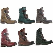 Fly London Stif Leather Low Heel Womens  Biker Buckle Army  Ladies  Ankle Boots