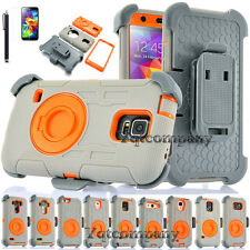 Hybrid Rugged Armor Impact Hard Case Kickstand Cover Skin With Belt Clip Holster