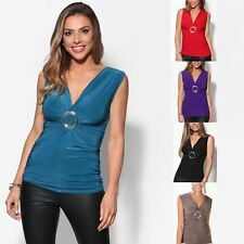 Womens Ladies Cross Over Buckle Wrap Stretch V Neck Vest Top T-shirt Blouse 8-20