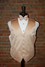 MENS SMALL GOLDEN YELLOW TUXEDO VEST / BOW or TIE by CARDI  SOLID SATIN