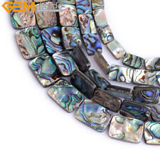 """Natural Genuine Abalone Shell Stone Beads For Jewelry Making 15"""" Rectangle"""