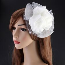 Hair Clip Fascinator Corsage Brooch Pin Lace Flower Women Perform Hair Accessory