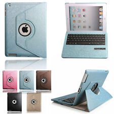 Removable Bluetooth Keyboard+Rotating leather Case Cover For Ipad 2nd 3rd 4th
