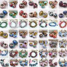 Multicolor Howlite Turquoise Big Hole Beads fit European Charms Snake Bracelet